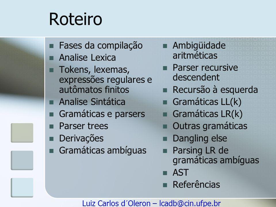 Roteiro Fases da compilação Analise Lexica