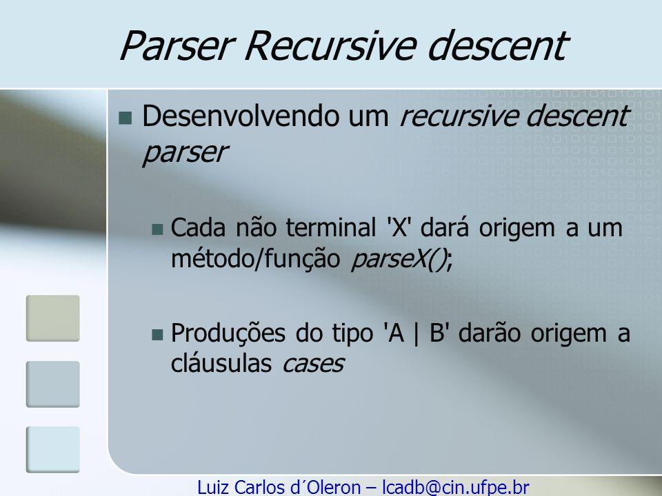 Parser Recursive descent