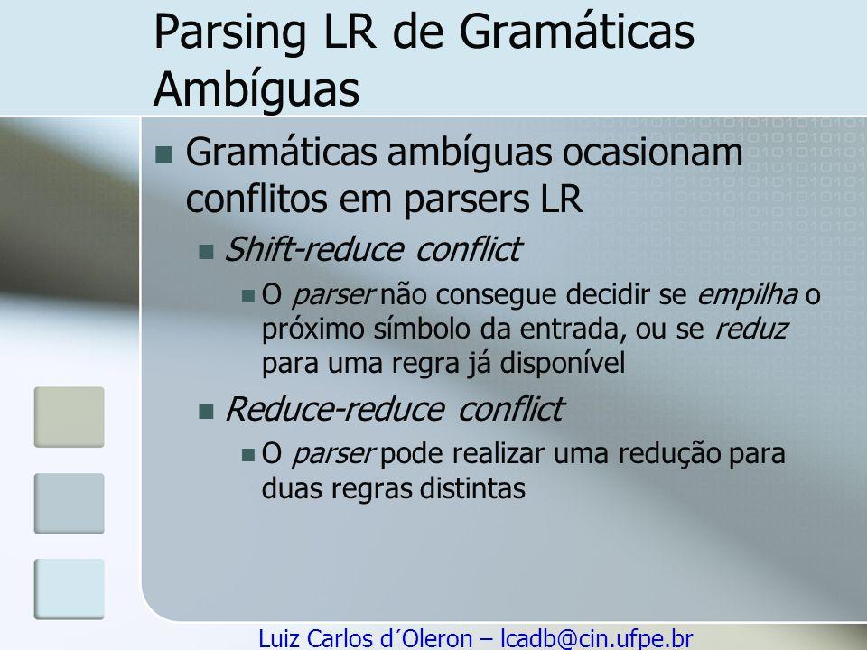 Parsing LR de Gramáticas Ambíguas