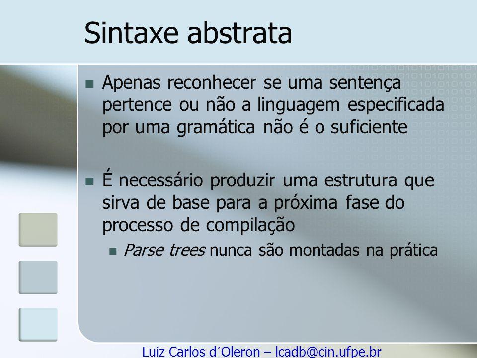 Sintaxe abstrata Apenas reconhecer se uma sentença pertence ou não a linguagem especificada por uma gramática não é o suficiente.