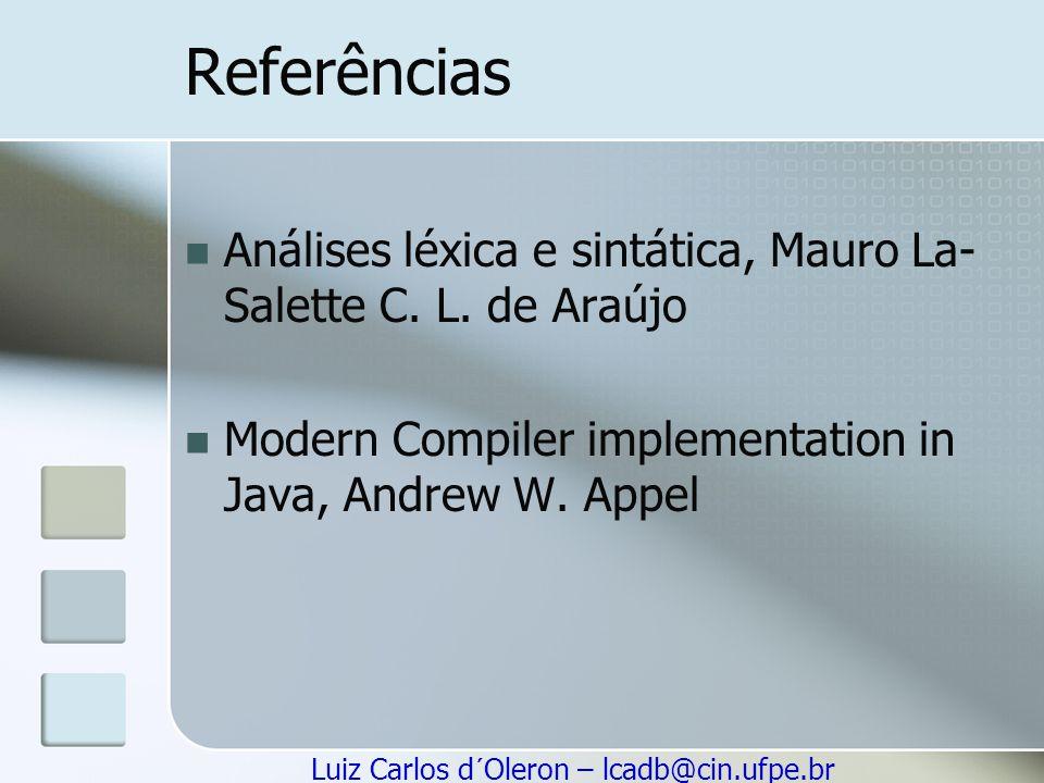 Referências Análises léxica e sintática, Mauro La-Salette C.