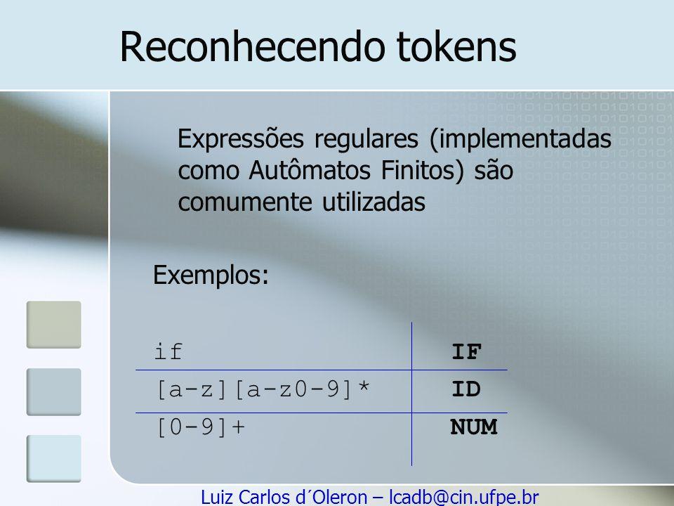 Reconhecendo tokens Expressões regulares (implementadas como Autômatos Finitos) são comumente utilizadas.