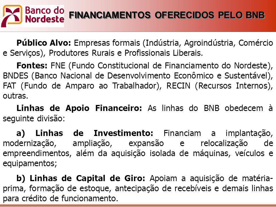 FINANCIAMENTOS OFERECIDOS PELO BNB