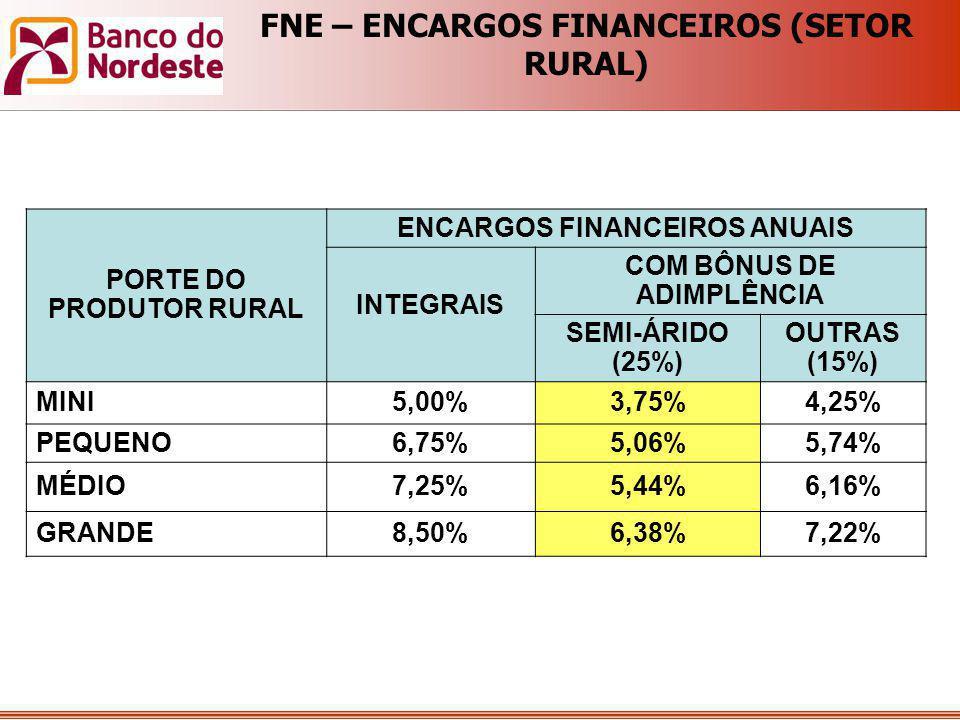 FNE – ENCARGOS FINANCEIROS (SETOR RURAL)
