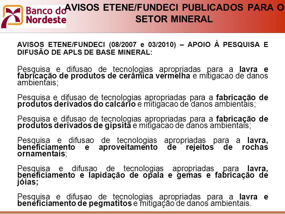 AVISOS ETENE/FUNDECI PUBLICADOS PARA O SETOR MINERAL