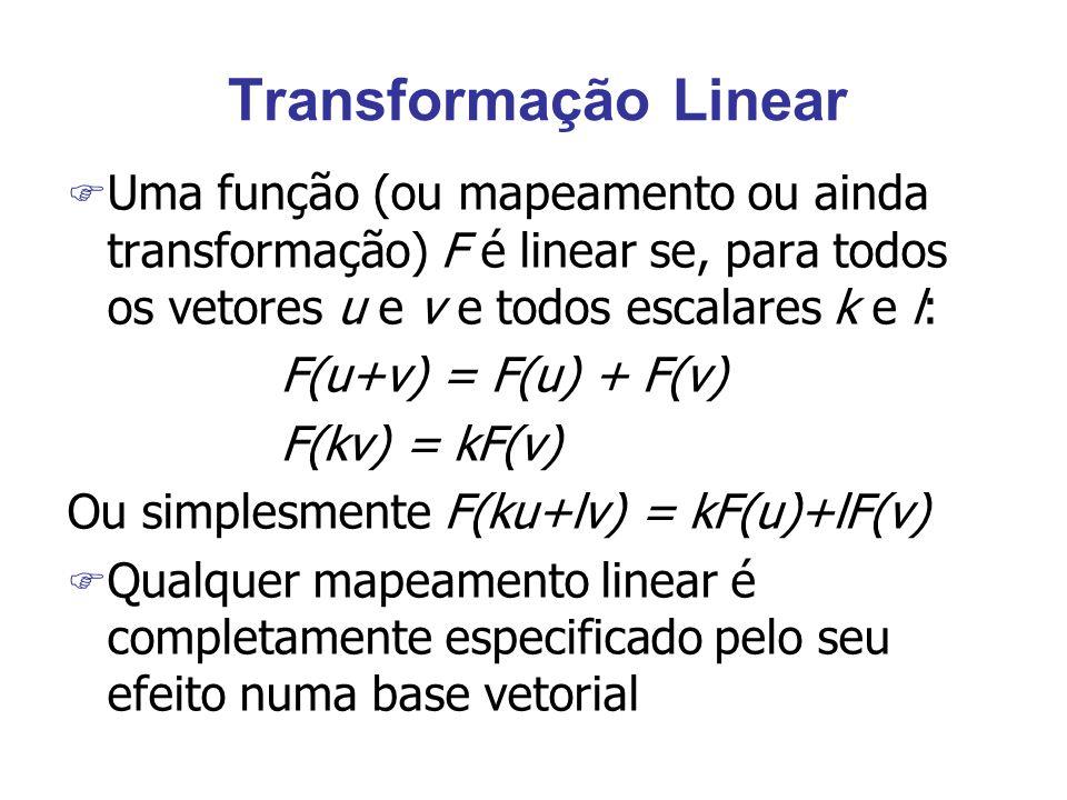 Transformação Linear Uma função (ou mapeamento ou ainda transformação) F é linear se, para todos os vetores u e v e todos escalares k e l: