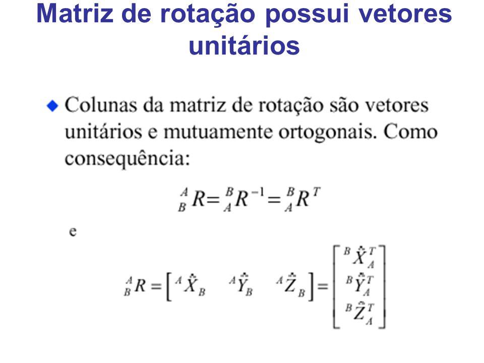 Matriz de rotação possui vetores unitários