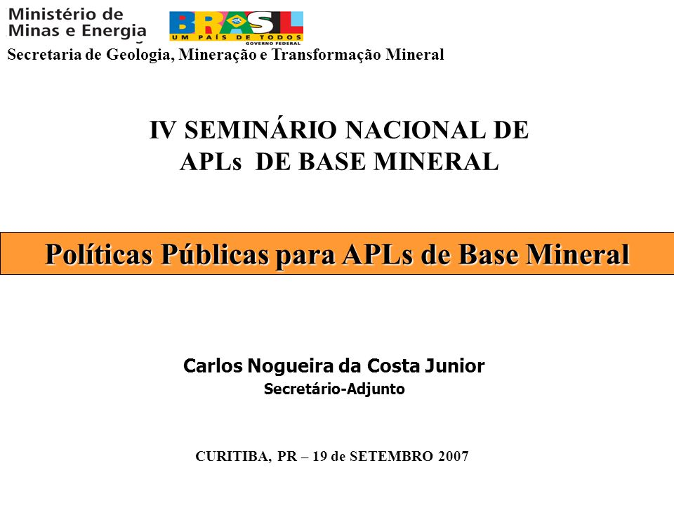 Políticas Públicas para APLs de Base Mineral