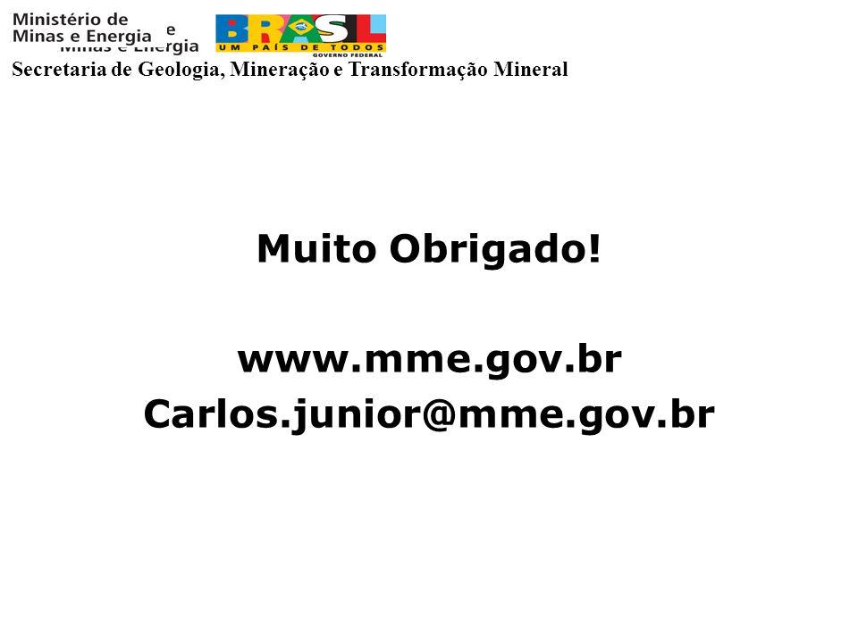 Muito Obrigado! www.mme.gov.br Carlos.junior@mme.gov.br