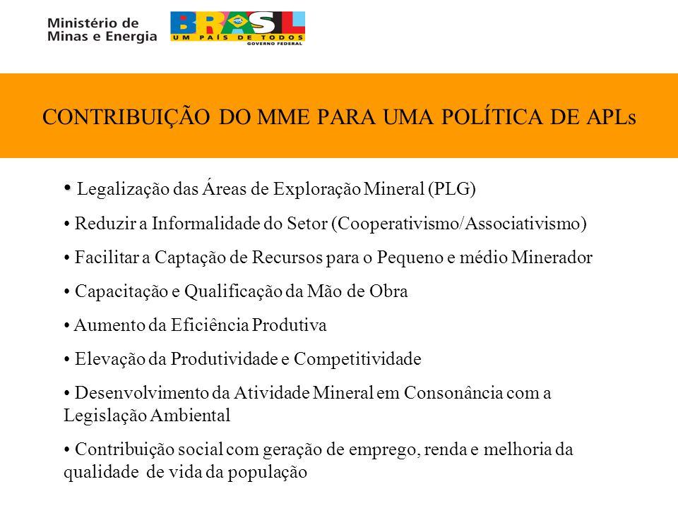 CONTRIBUIÇÃO DO MME PARA UMA POLÍTICA DE APLs