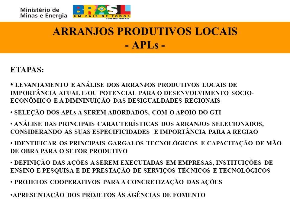 ARRANJOS PRODUTIVOS LOCAIS - APLs -