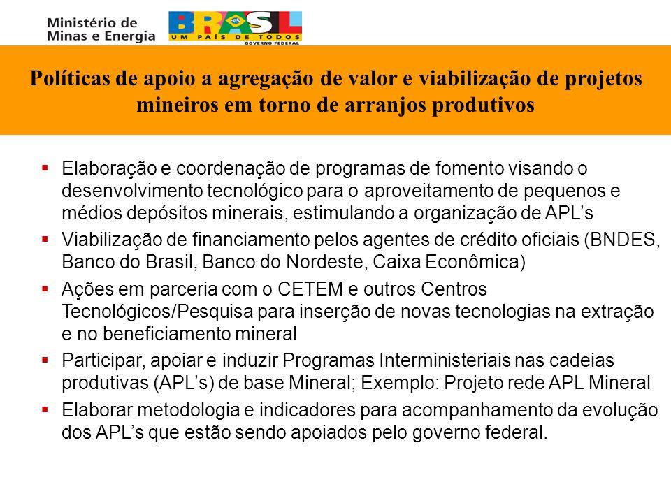 Políticas de apoio a agregação de valor e viabilização de projetos mineiros em torno de arranjos produtivos