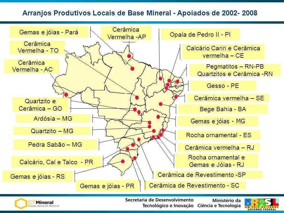 Arranjos Produtivos Locais de Base Mineral - Apoiados de 2002- 2008