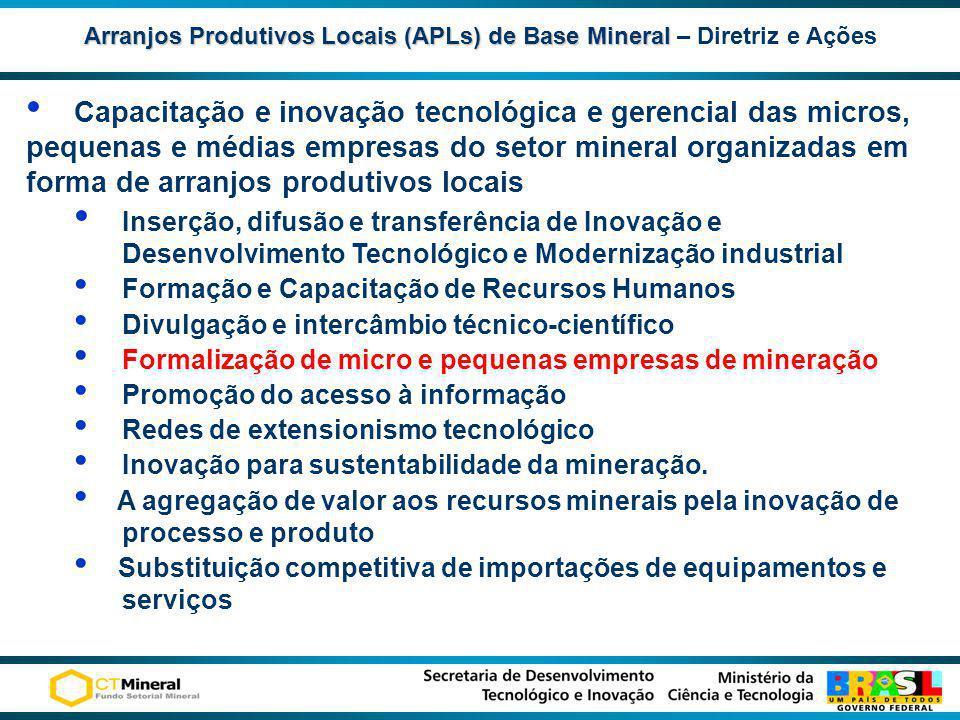 Arranjos Produtivos Locais (APLs) de Base Mineral – Diretriz e Ações