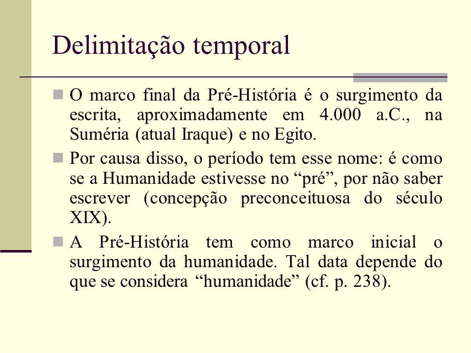 Delimitação temporal O marco final da Pré-História é o surgimento da escrita, aproximadamente em 4.000 a.C., na Suméria (atual Iraque) e no Egito.
