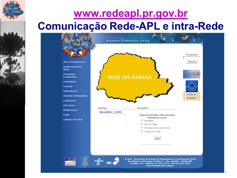 www.redeapl.pr.gov.br Comunicação Rede-APL e intra-Rede