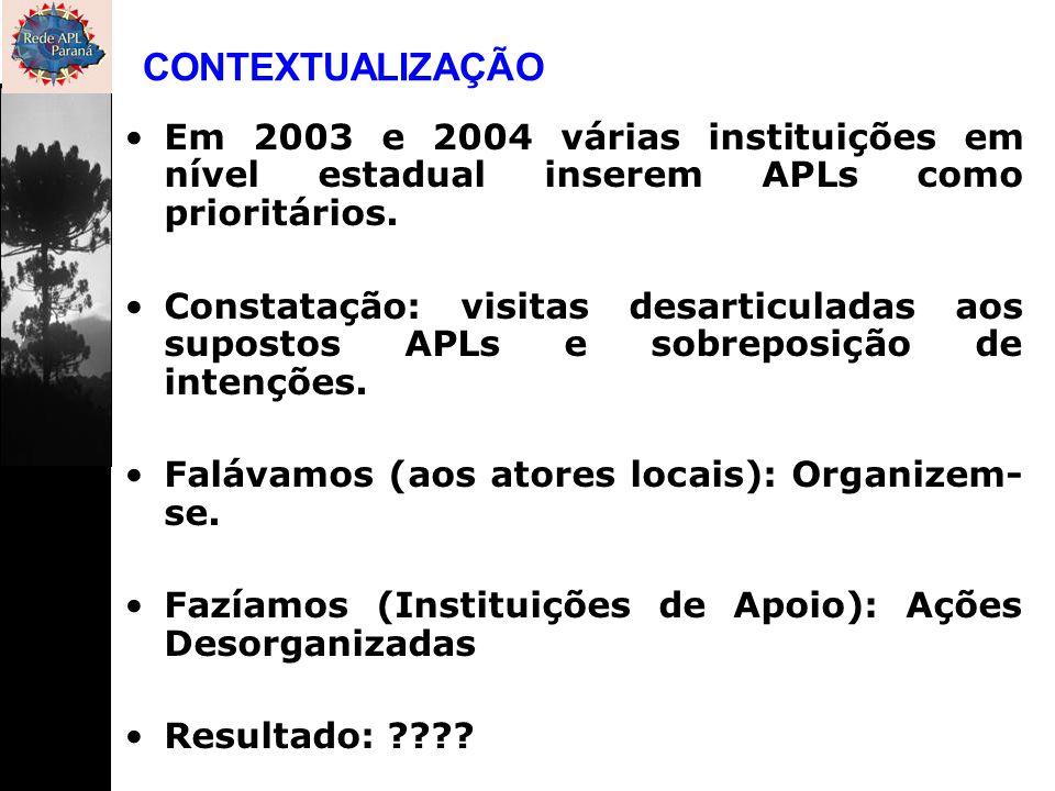 CONTEXTUALIZAÇÃO Em 2003 e 2004 várias instituições em nível estadual inserem APLs como prioritários.