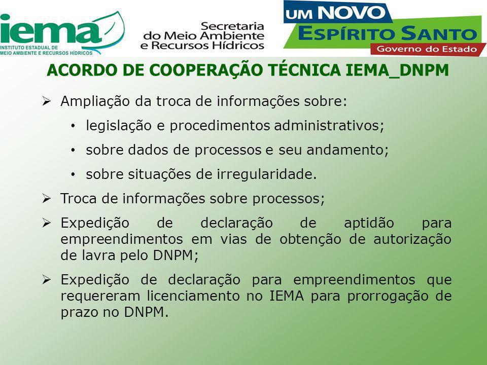 ACORDO DE COOPERAÇÃO TÉCNICA IEMA_DNPM