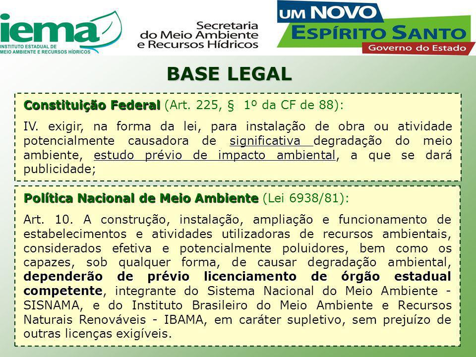 BASE LEGAL Constituição Federal (Art. 225, § 1º da CF de 88):