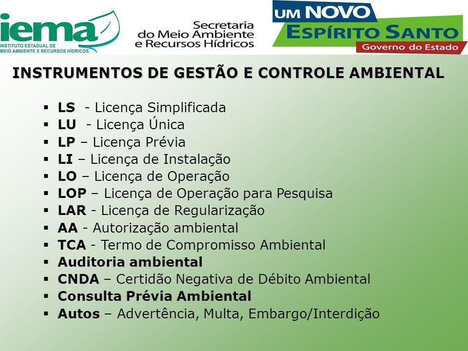 INSTRUMENTOS DE GESTÃO E CONTROLE AMBIENTAL