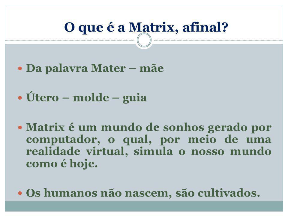 O que é a Matrix, afinal Da palavra Mater – mãe Útero – molde – guia