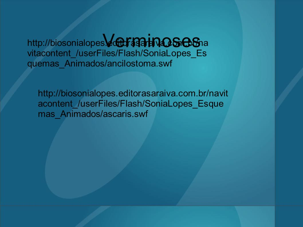 Verminoses http://biosonialopes.editorasaraiva.com.br/navitacontent_/userFiles/Flash/SoniaLopes_Esquemas_Animados/ancilostoma.swf.