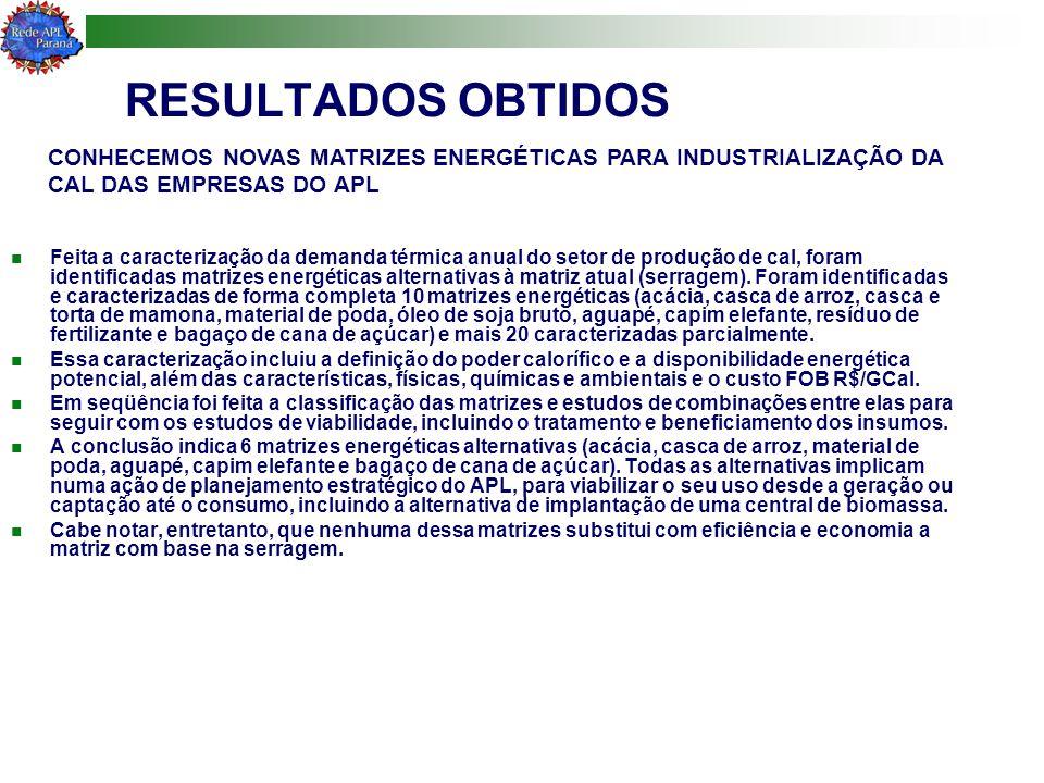 RESULTADOS OBTIDOS CONHECEMOS NOVAS MATRIZES ENERGÉTICAS PARA INDUSTRIALIZAÇÃO DA CAL DAS EMPRESAS DO APL.