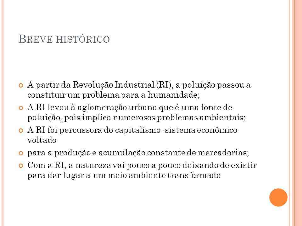 Breve histórico A partir da Revolução Industrial (RI), a poluição passou a constituir um problema para a humanidade;