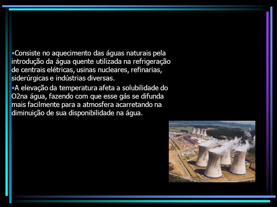 Consiste no aquecimento das águas naturais pela introdução da água quente utilizada na refrigeração de centrais elétricas, usinas nucleares, refinarias, siderúrgicas e indústrias diversas.
