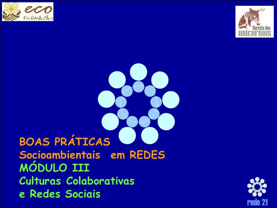 BOAS PRÁTICAS Socioambientais em REDES MÓDULO III Culturas Colaborativas e Redes Sociais