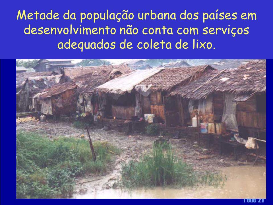 Metade da população urbana dos países em desenvolvimento não conta com serviços adequados de coleta de lixo.