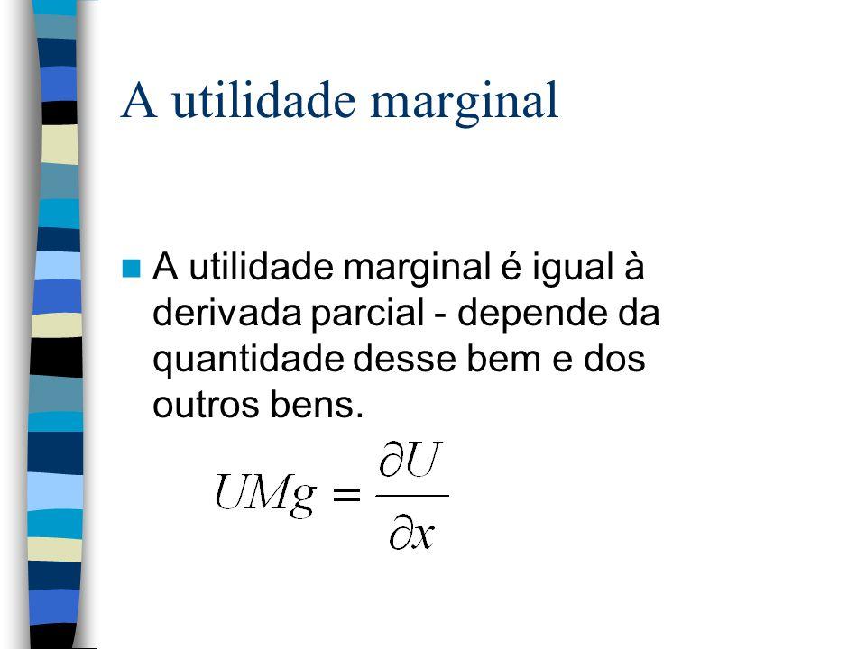 A utilidade marginal A utilidade marginal é igual à derivada parcial - depende da quantidade desse bem e dos outros bens.
