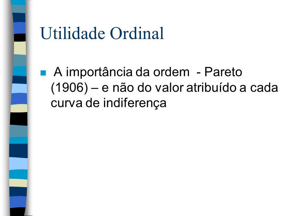 Utilidade Ordinal A importância da ordem - Pareto (1906) – e não do valor atribuído a cada curva de indiferença.
