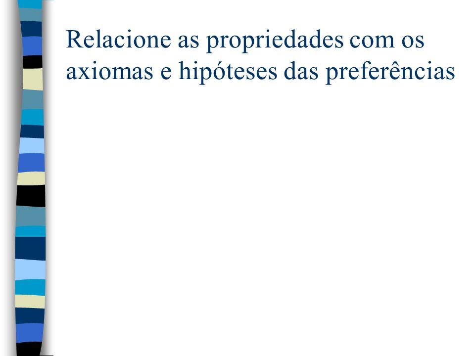 Relacione as propriedades com os axiomas e hipóteses das preferências