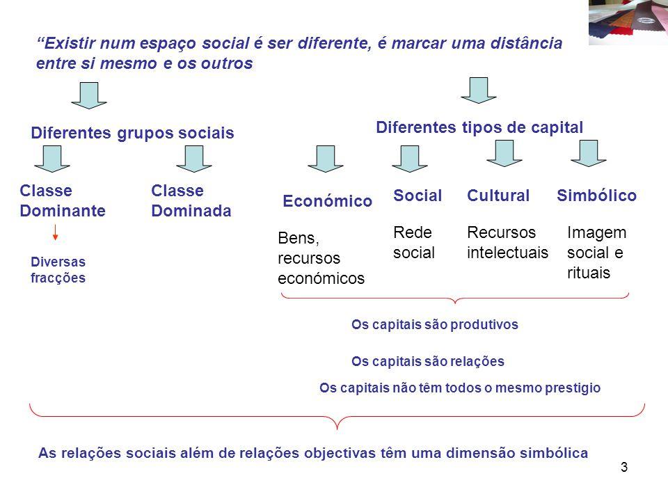 Diferentes tipos de capital Diferentes grupos sociais