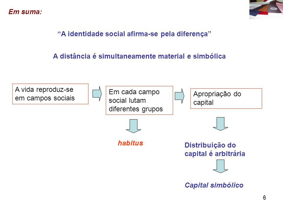 Em suma: A identidade social afirma-se pela diferença A distância é simultaneamente material e simbólica.