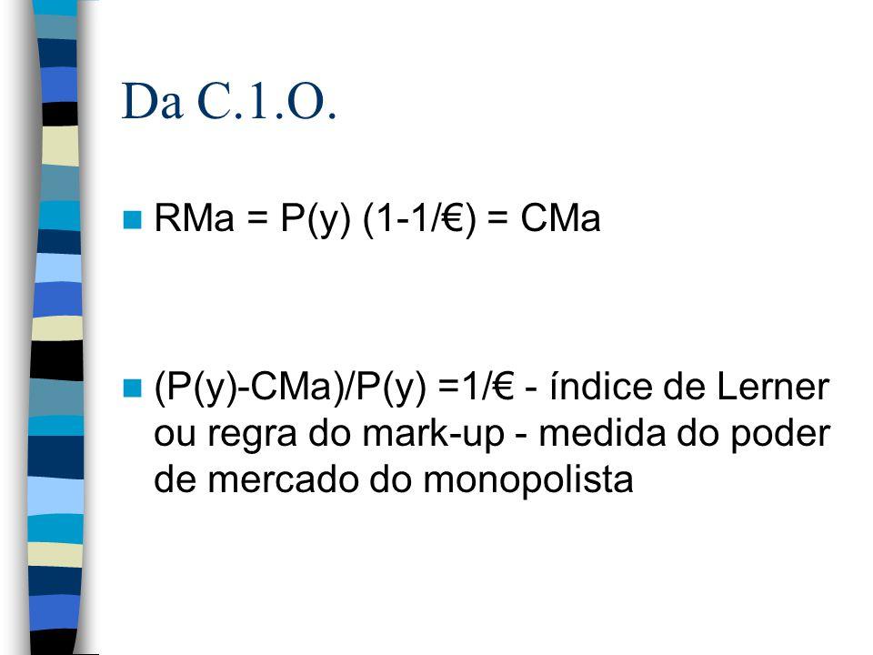 Da C.1.O. RMa = P(y) (1-1/€) = CMa