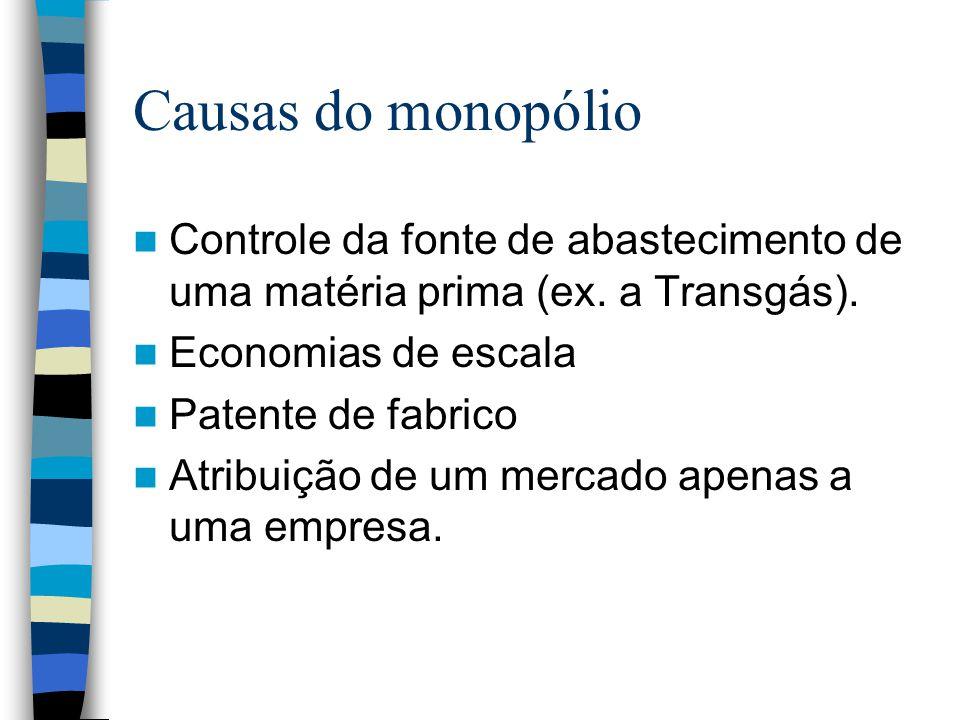 Causas do monopólio Controle da fonte de abastecimento de uma matéria prima (ex. a Transgás). Economias de escala.