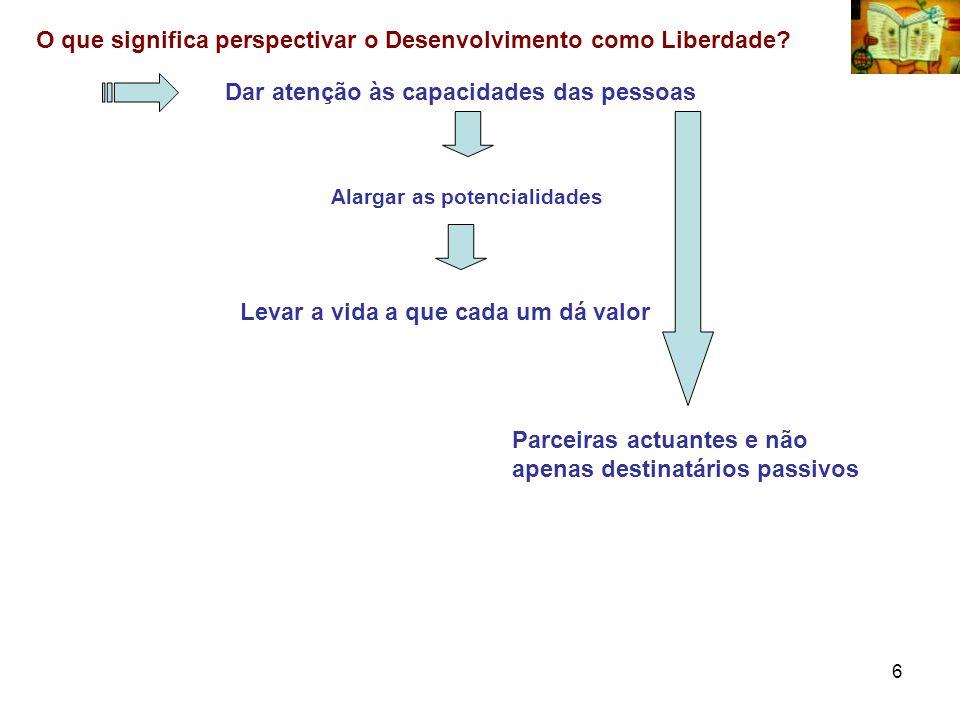 O que significa perspectivar o Desenvolvimento como Liberdade