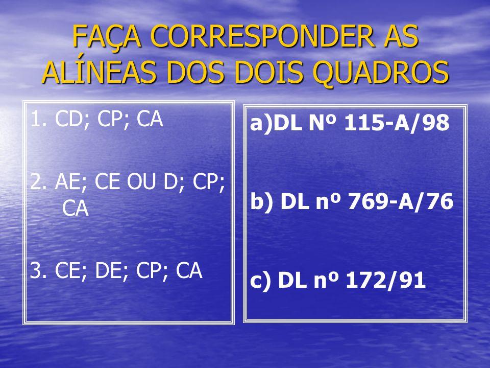 FAÇA CORRESPONDER AS ALÍNEAS DOS DOIS QUADROS