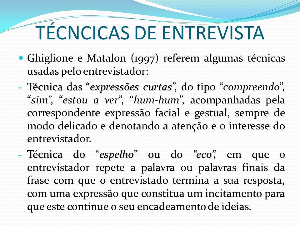TÉCNCICAS DE ENTREVISTA