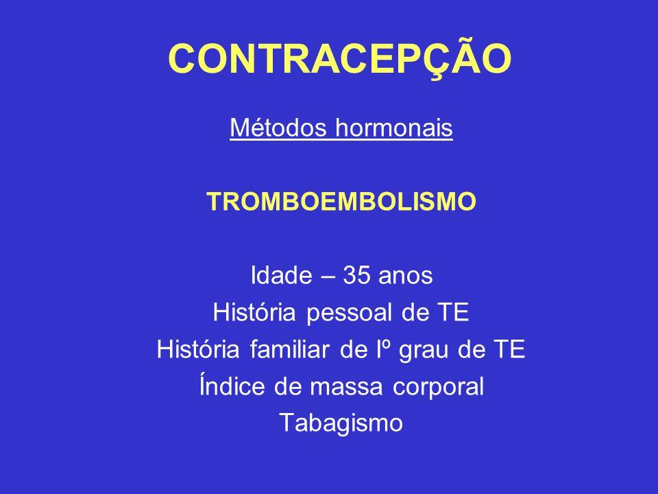 CONTRACEPÇÃO Métodos hormonais TROMBOEMBOLISMO Idade – 35 anos