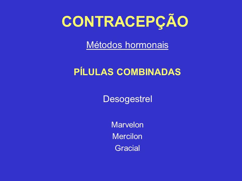 CONTRACEPÇÃO Métodos hormonais PÍLULAS COMBINADAS Desogestrel Marvelon