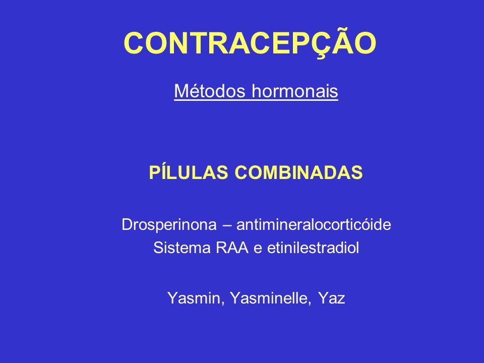 CONTRACEPÇÃO Métodos hormonais PÍLULAS COMBINADAS