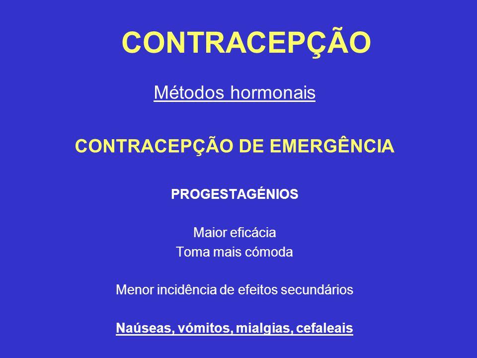 CONTRACEPÇÃO DE EMERGÊNCIA Naúseas, vómitos, mialgias, cefaleais