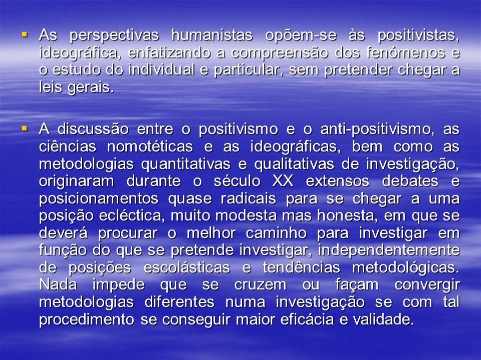 As perspectivas humanistas opõem-se às positivistas, ideográfica, enfatizando a compreensão dos fenómenos e o estudo do individual e particular, sem pretender chegar a leis gerais.