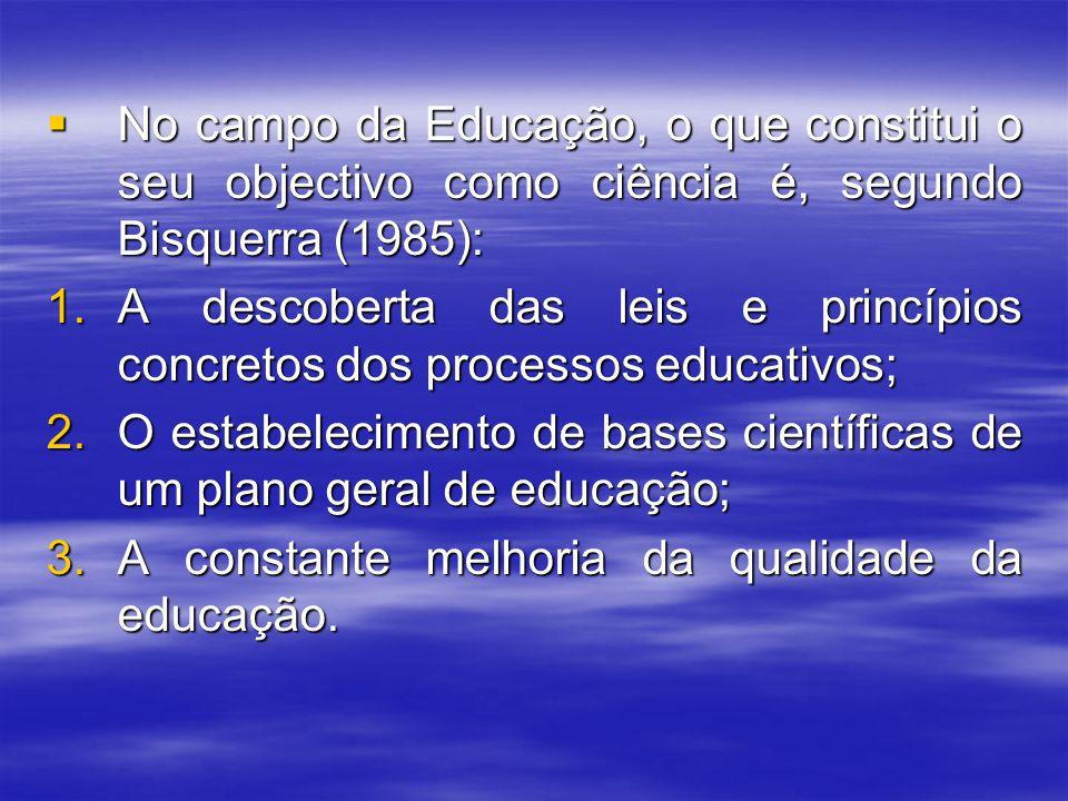 No campo da Educação, o que constitui o seu objectivo como ciência é, segundo Bisquerra (1985):