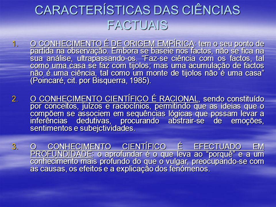 CARACTERÍSTICAS DAS CIÊNCIAS FACTUAIS