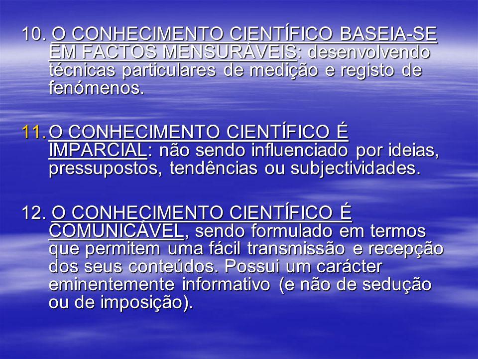 10. O CONHECIMENTO CIENTÍFICO BASEIA-SE EM FACTOS MENSURÁVEIS: desenvolvendo técnicas particulares de medição e registo de fenómenos.