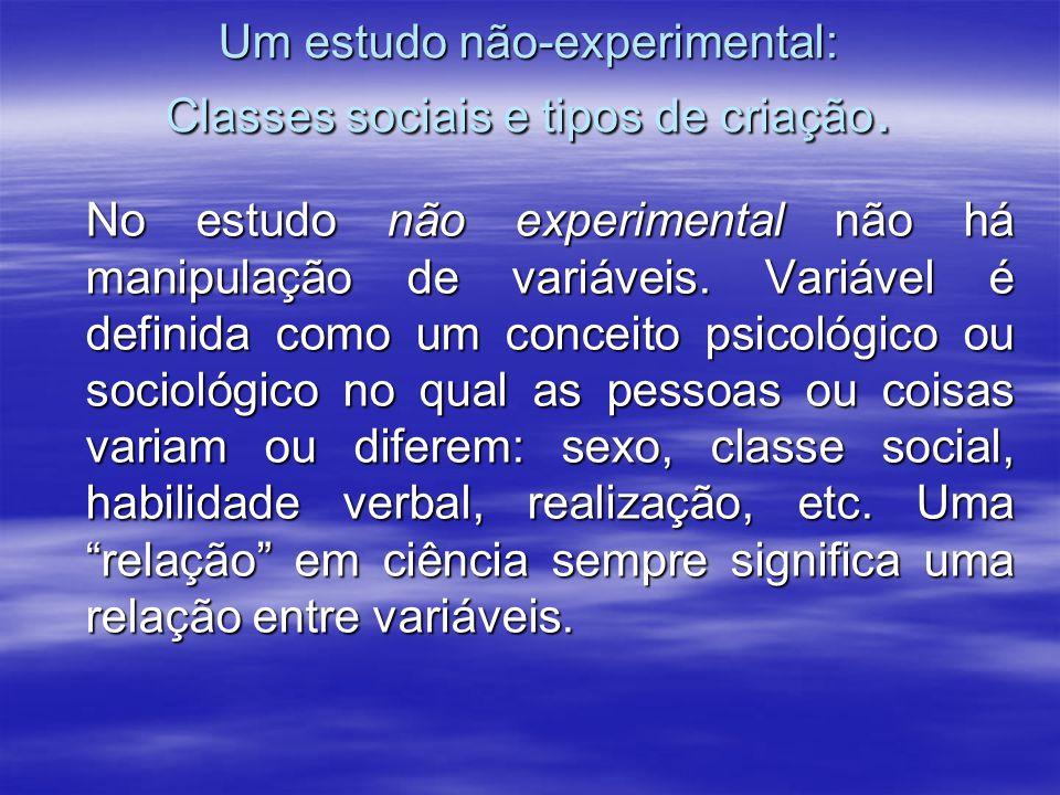 Um estudo não-experimental: Classes sociais e tipos de criação.